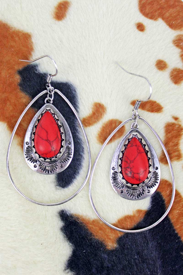 Paso Robles Red Teardrop Earrings