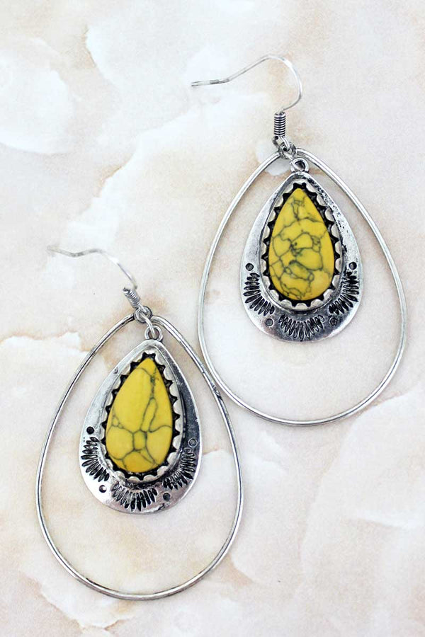 Paso Robles Mustard Teardrop Earrings