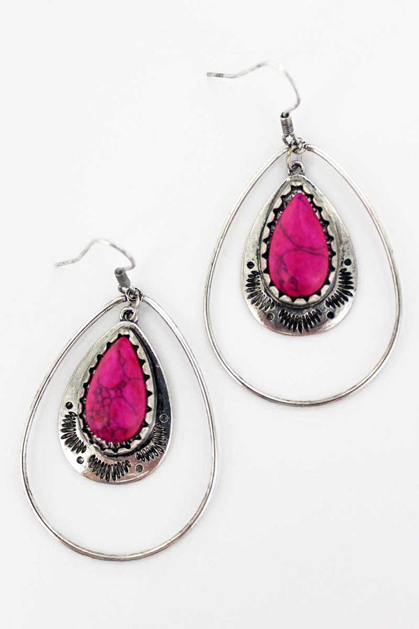 Paso Robles Fuchsia Pink Teardrop Earrings