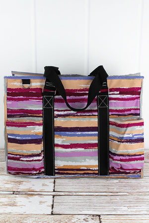 On The Horizon with Black Trim Large Organizer Tote