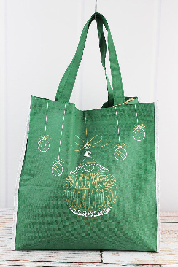 Joy To The World Green Ornament Tote Bag