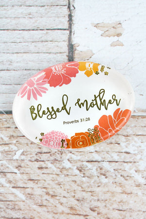2.5 x 3.5 'Blessed Mother' Floral Glass Paperweight