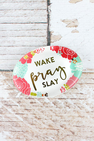 2.5 x 3.5 'Wake Pray Slay' Floral Glass Paperweight