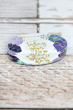 2.5 x 3.5 'Today Is Your Day' Floral Glass Paperweight