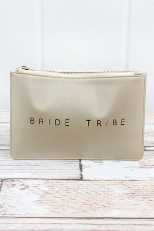 Metallic Silver 'Bride Tribe' Faux Leather Zip Pouch