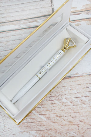 Best Life Ever Gem Top White Boxed Pen