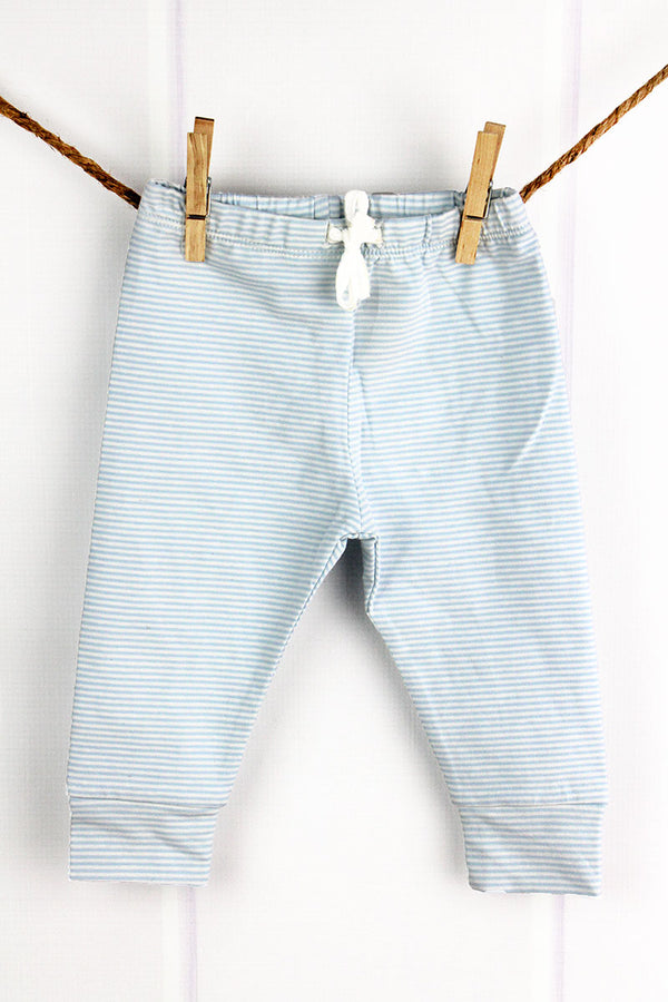 Blue and White Striped Pants, 0-6 Months