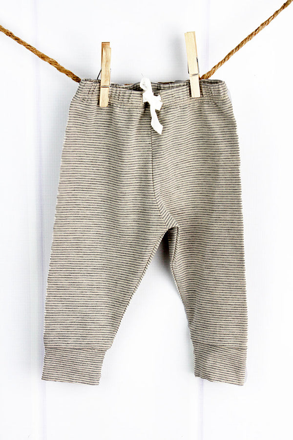 Cream and Gray Striped Pants, 0-6 Months