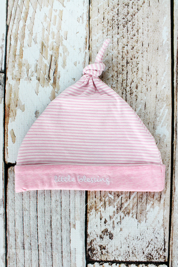 Pink Striped 'Little Blessing' Cap, Newborn