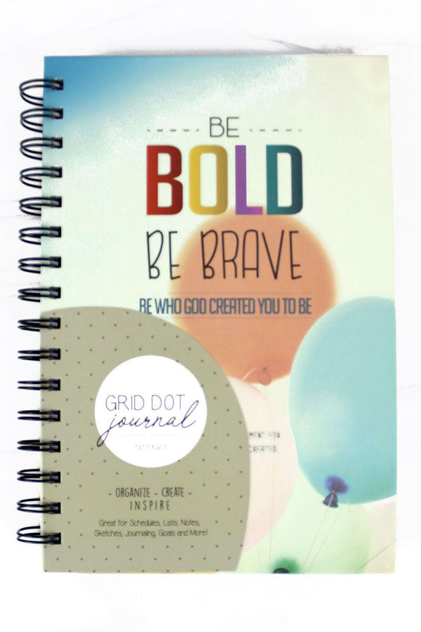 Be Bold Be Brave Grid Dot Journal