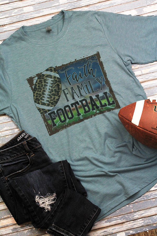 Faith Family Football Leopard Home Poly/Cotton Tee