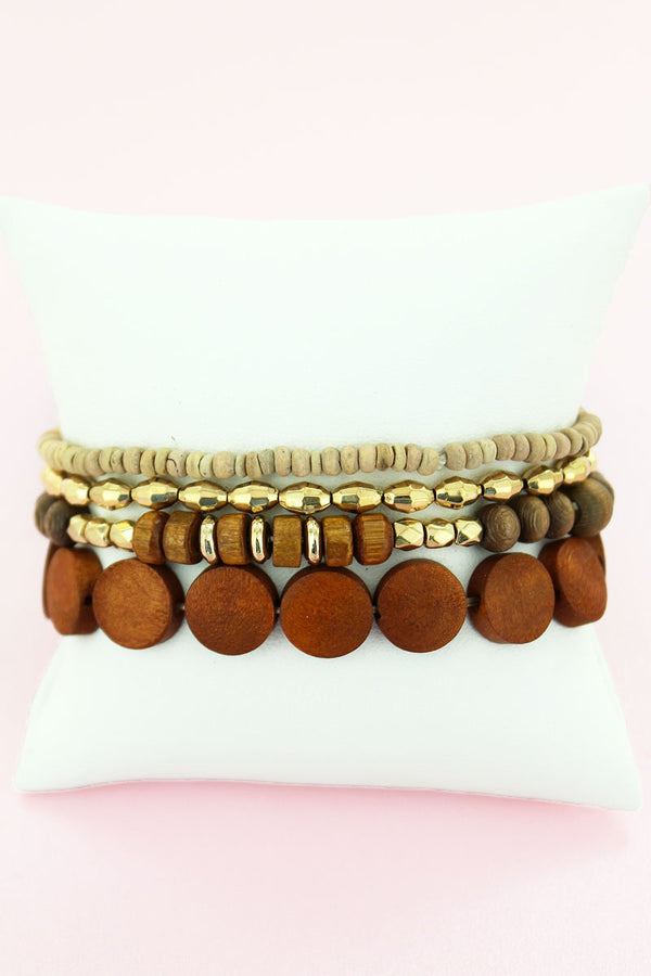 Dark Wood and Goldtone Mixed Bead Stretch Bracelet Set