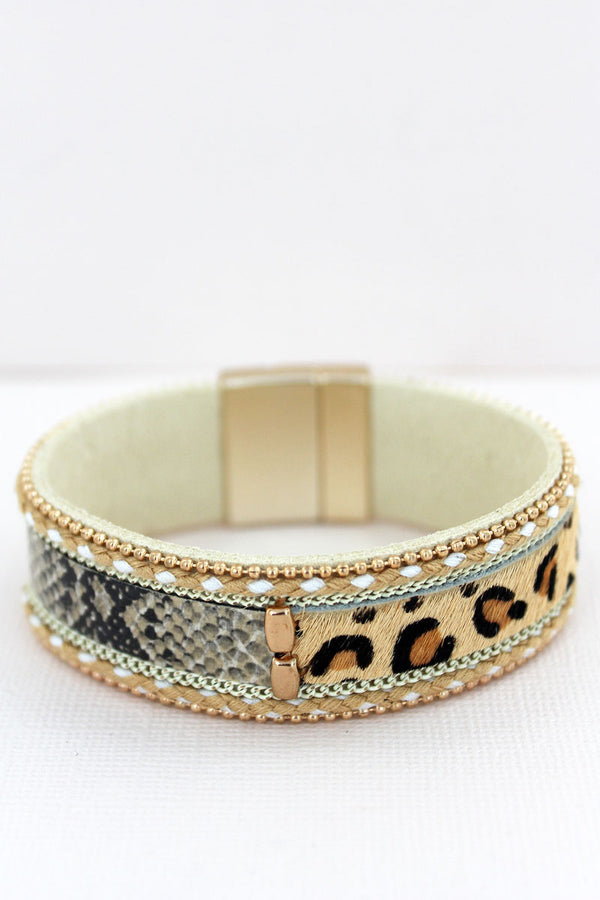 Brown Split Leopard and Snakeskin Magnetic Bracelet