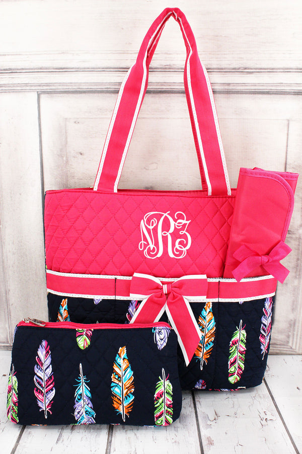 Fancy Feathers Quilted Diaper Bag with Hot Pink Trim #FEA2121-HPINK