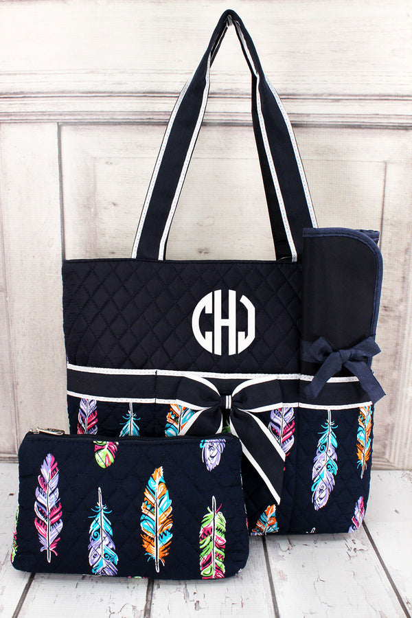 Fancy Feathers Quilted Diaper Bag with Navy Trim #FEA2121-NAVY