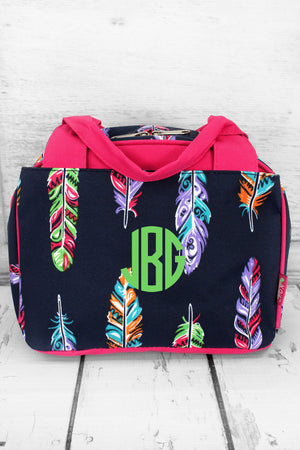 Fancy Feathers Insulated Bowler Style Lunch Bag with Hot Pink Trim