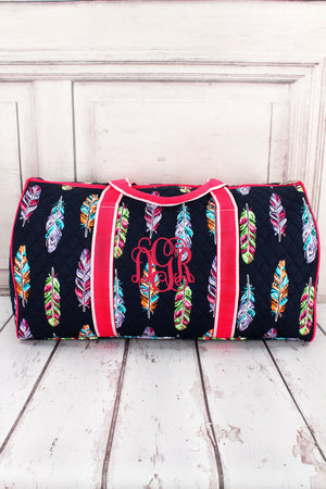 "Fancy Feathers Quilted Duffle Bag with Hot Pink Trim 21"" #FEA2626-HPINK"