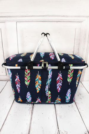Fancy Feathers with Navy Trim Collapsible Insulated Market Basket with Lid #FEA658-NAVY