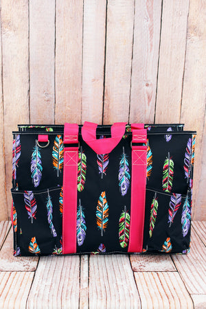 Fancy Feathers with Hot Pink Trim Large Organizer Tote
