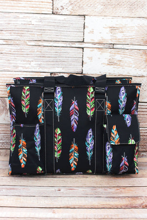 Fancy Feathers with Navy Trim Large Organizer Tote