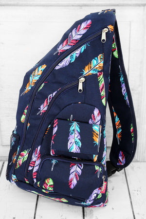 Fancy Feathers Sling Backpack with Navy Trim