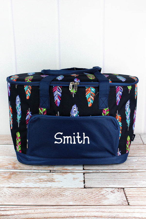 Fancy Feathers and Navy Cooler Tote with Lid