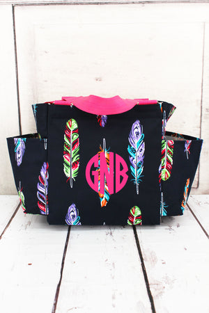 Fancy Feathers Organizer Tote with Hot Pink Trim