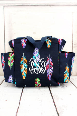 Fancy Feathers Organizer Tote with Navy Trim