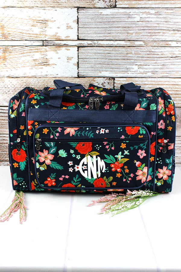 Spring Blossoms Duffle Bag with Navy Trim 20""