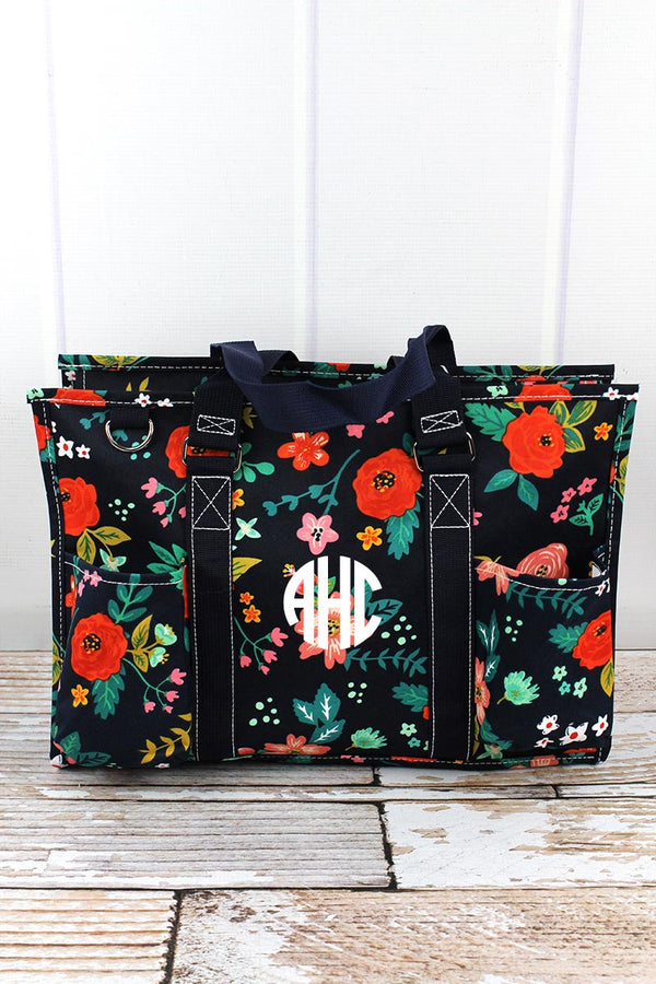 Spring Blossoms Utility Tote with Navy Trim