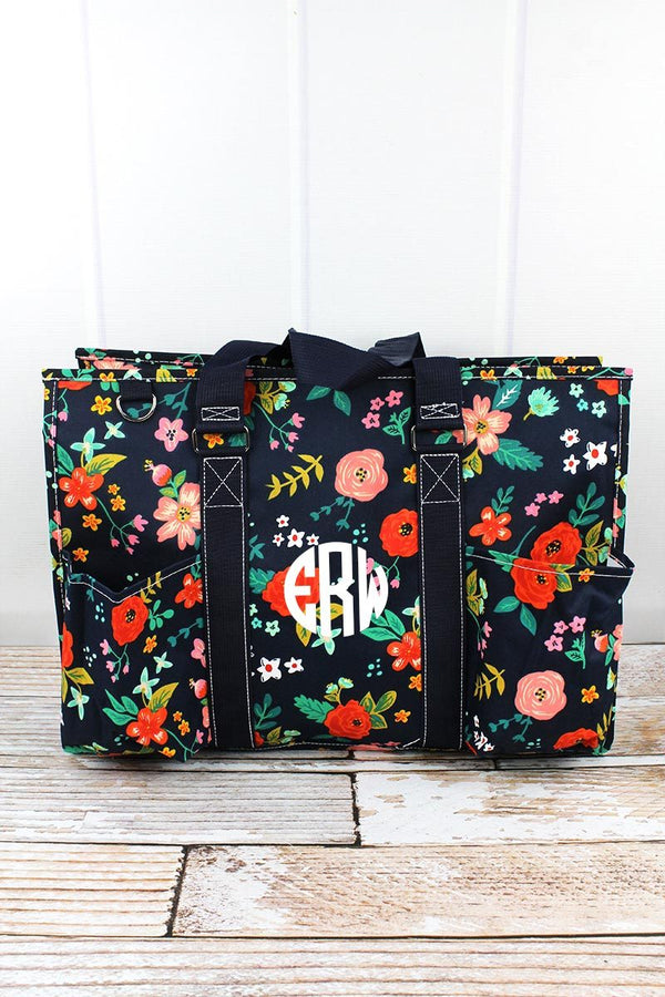 Spring Blossoms with Navy Trim Large Organizer Tote