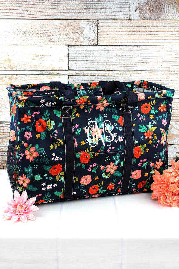 Spring Blossoms Collapsible Double Haul-It-All Basket with Mesh Pockets and Lid