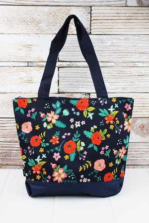Spring Blossoms with Navy Trim Tote Bag