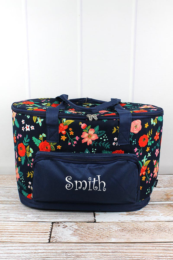Spring Blossoms and Navy Cooler Tote with Lid