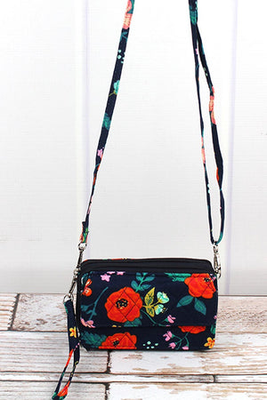 Spring Blossoms Quilted Crossbody Organizer Clutch