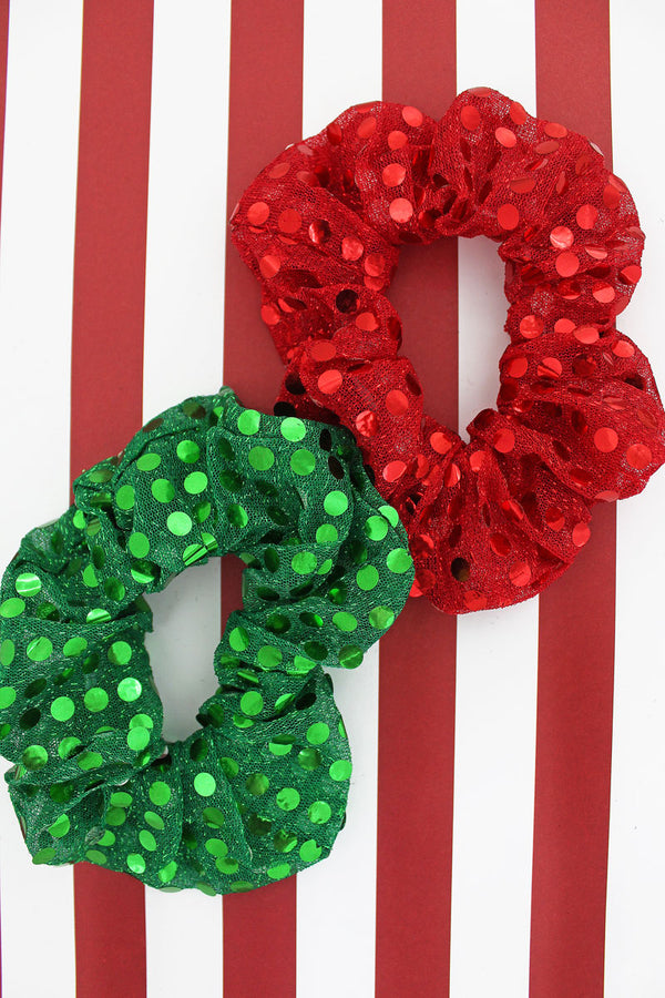 Red and Green Sequin Christmas Scrunchie Set