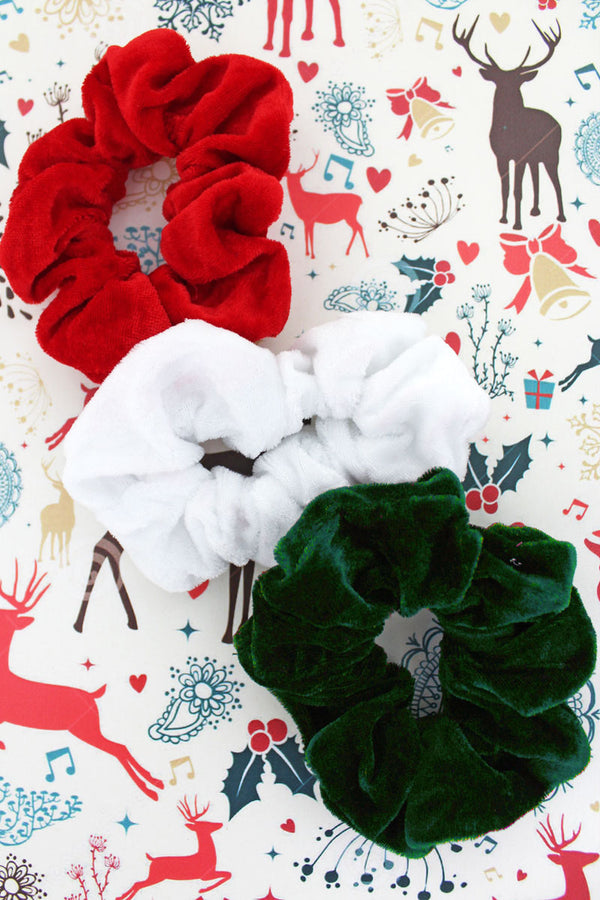 Red, Green, and White Velour Scrunchie Set