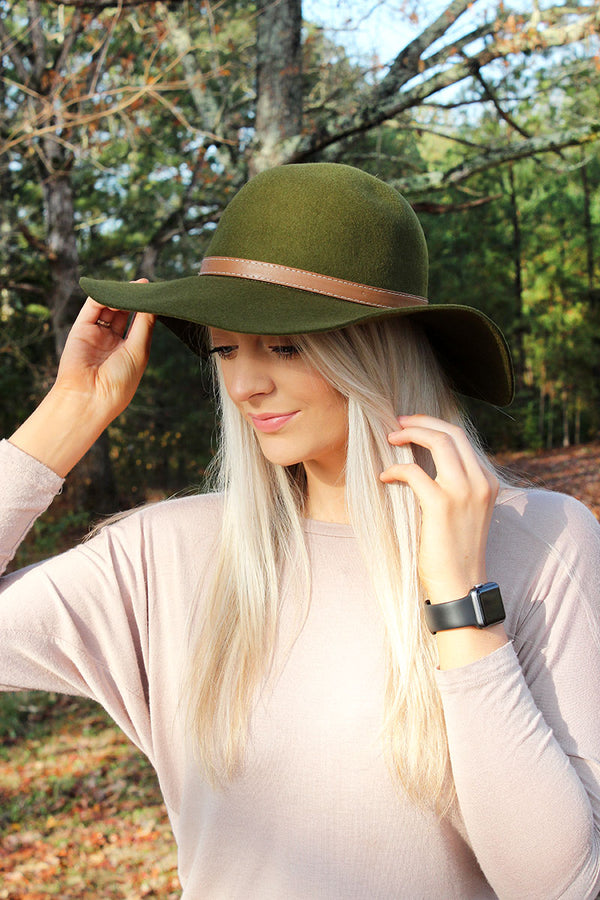Take It Easy Faux Leather Banded Wool Felt Floppy Hat, Olive