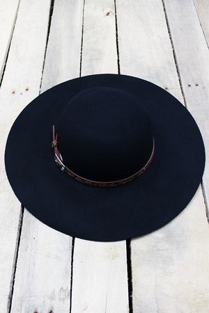City Chic Faux Snakeskin Banded Wool Felt Floppy Hat, Navy