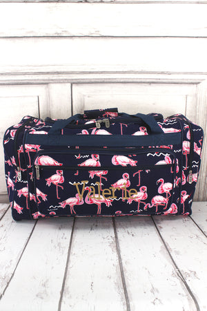 Flamingo Party Duffle Bag with Navy Trim 23""