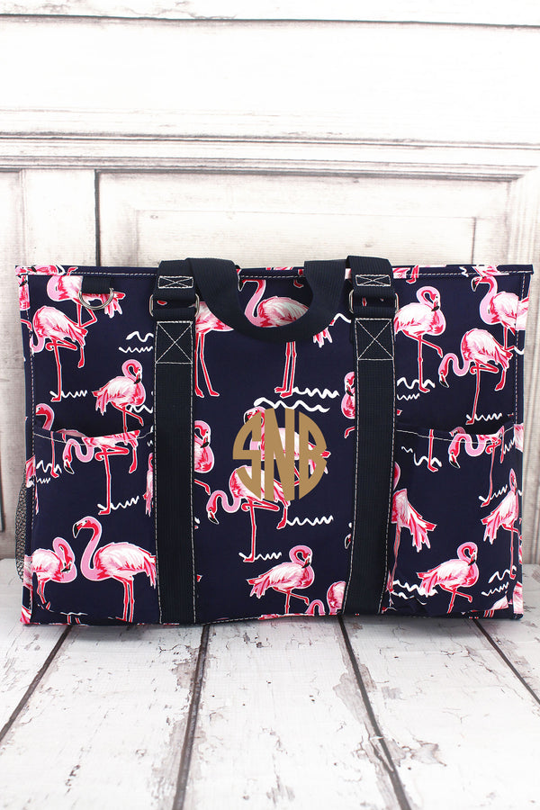 Flamingo Party with Navy Trim Large Organizer Tote