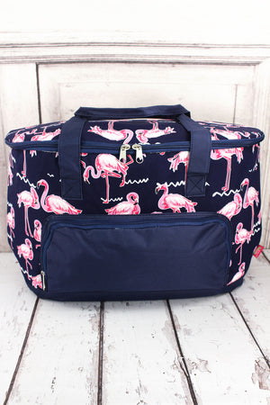 Flamingo Party and Navy Cooler Tote with Lid