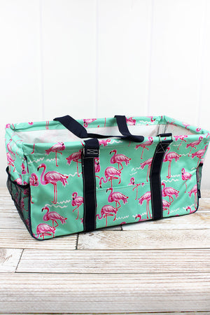 Flamingo Dance Collapsible Haul-It-All Basket with Mesh Pockets
