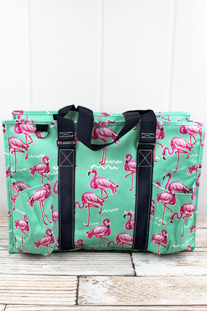 Flamingo Dance with Navy Trim Large Organizer Tote