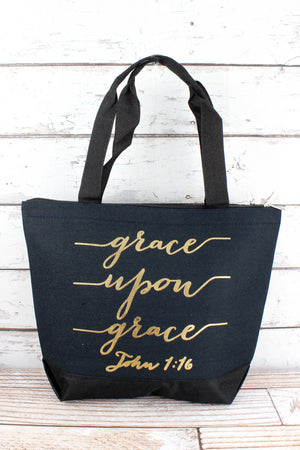 Metallic Gold 'Grace Upon Grace' Navy Tote Bag
