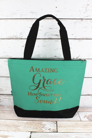 Metallic Gold 'Amazing Grace' Mint Tote Bag