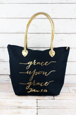 Metallic Gold 'Grace Upon Grace' Navy Shoulder Tote