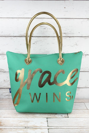 Metallic Gold 'Grace Wins' Mint Shoulder Tote