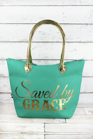 Metallic Gold 'Saved By Grace' Mint Shoulder Tote
