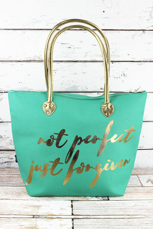 Metallic Gold 'Not Perfect Just Forgiven' Mint Shoulder Tote